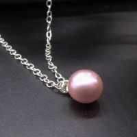 Single Pink Pearl Pendant - 9-10mm