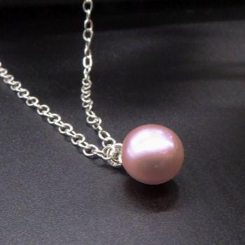 Single Pink Pearl Pendant - 9-10mm