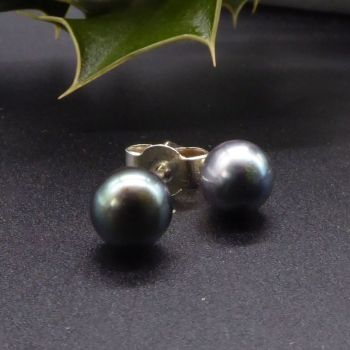 Black Peacock Pearl Studs with silver backs 9-10mm