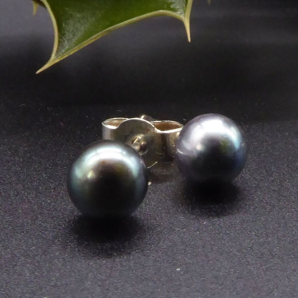 Black Peacock Pearl Studs Earrings with silver backs 11-12 mm