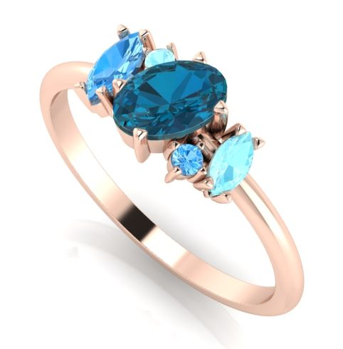 Atlants blue,  rose gold quirky cluster engagement ring