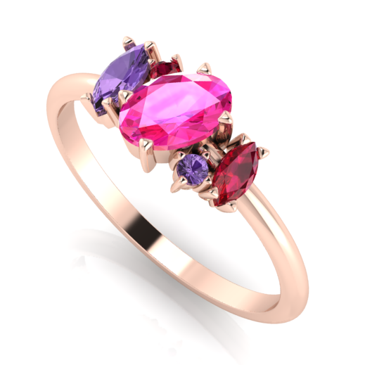 Quirky and unusual, pink, violet sapphire and ruby engagement ring