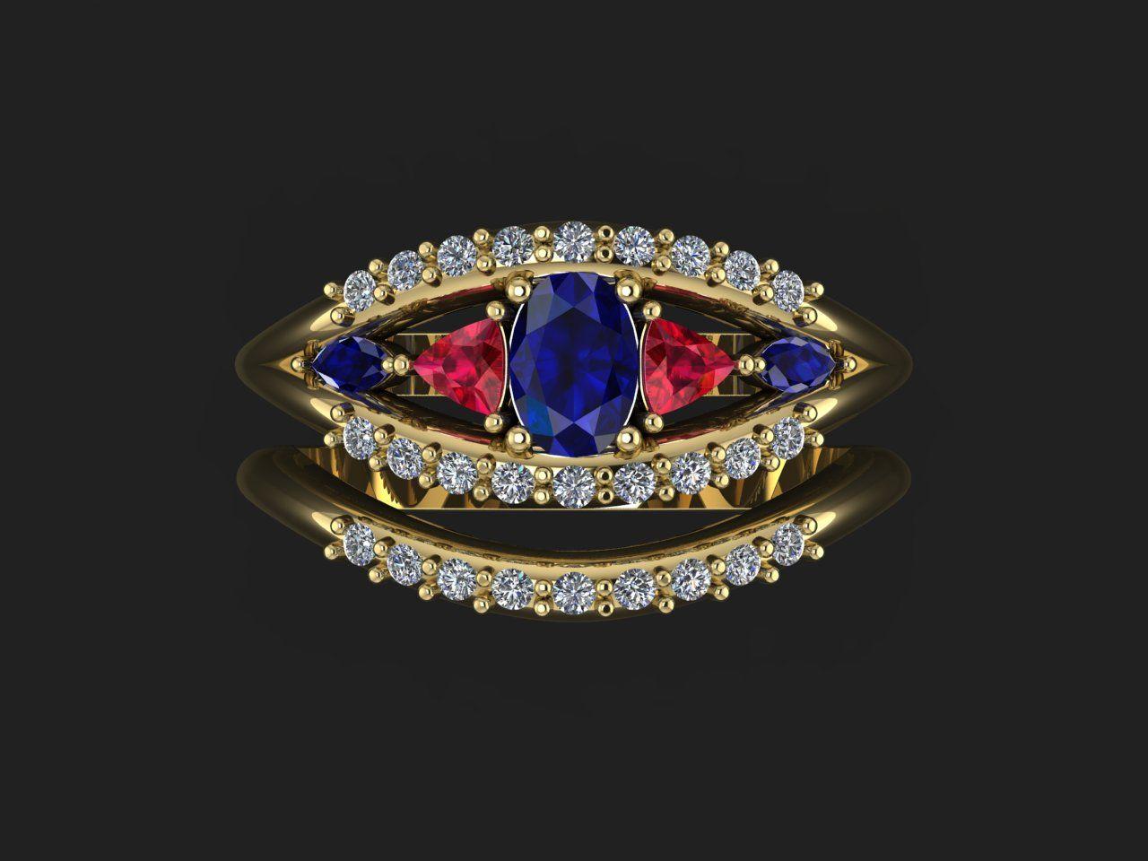 Matt - sapphire, ruby and diamond engagement ring