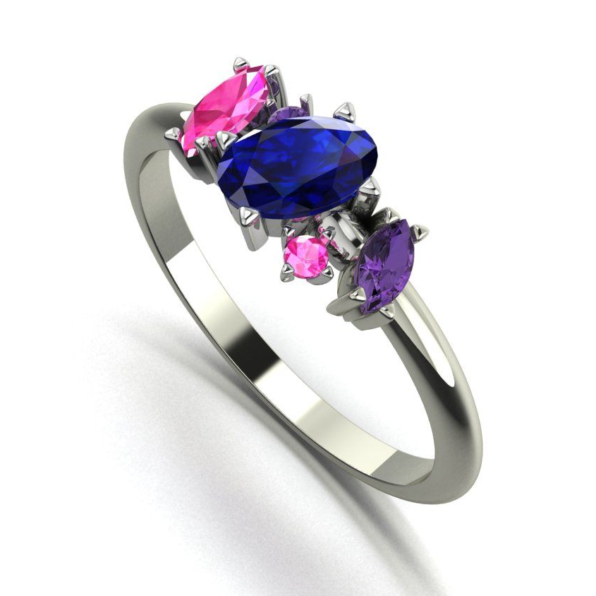 Blue, pink and violet quirky gemstone ring