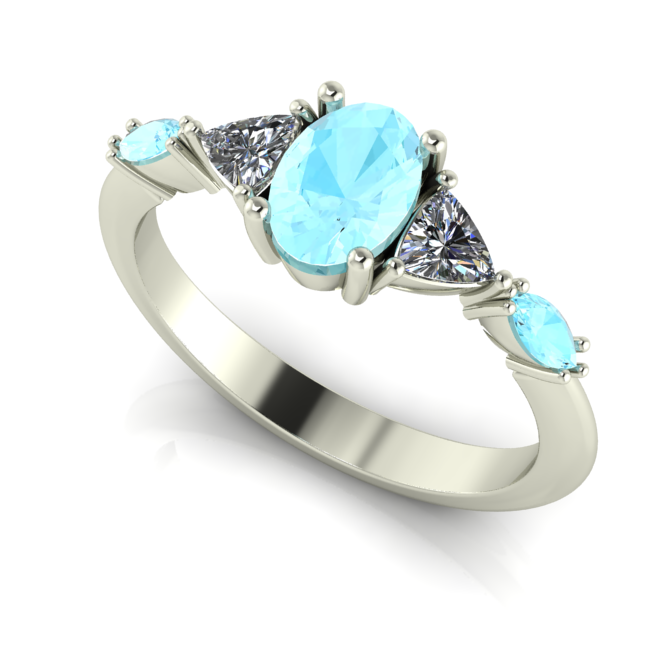 Classic contemporary aquamarine and diamond engagement ring