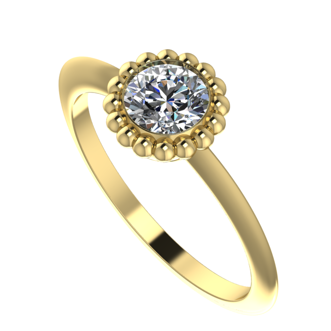 Simple dainty modern solitaire diamond ring