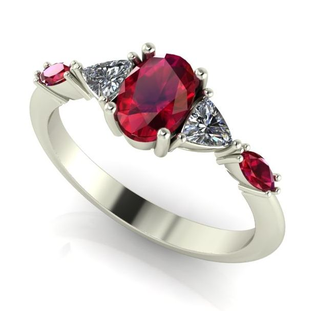 classic contemporary ruby and diamond engagement ring