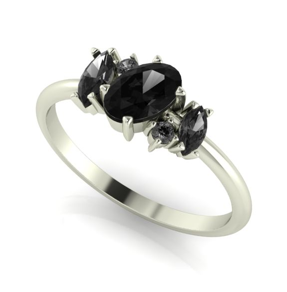 Black diamond alternative style engagement ring
