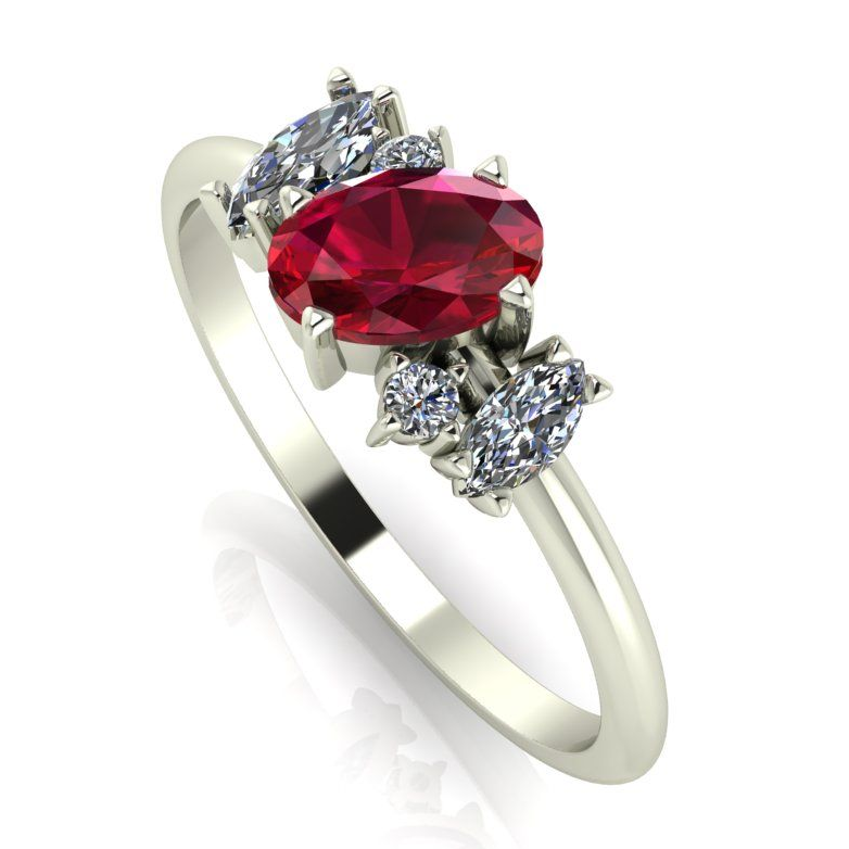 Ruby and diamond quirky cluster engagement ring - yellow gold