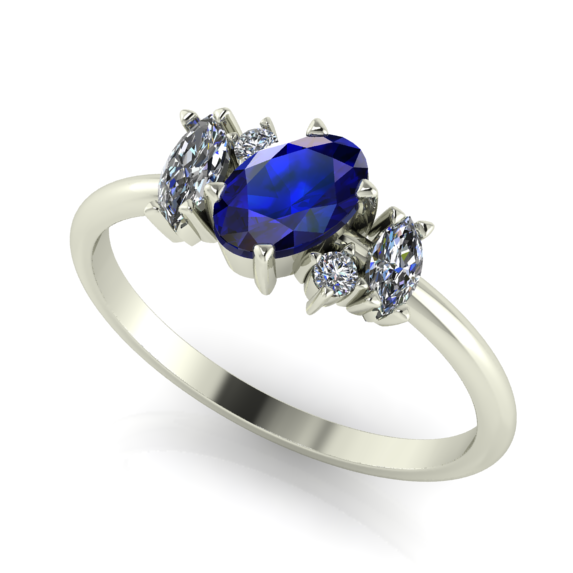 Quirky sapphire and diamond engagement ring