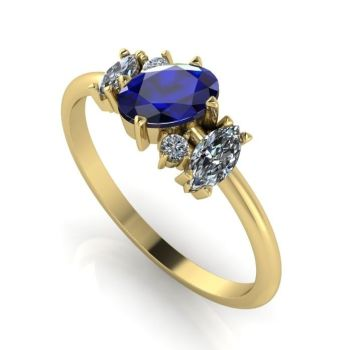 Atlantis: Blue Sapphire, Diamond & Yellow Gold