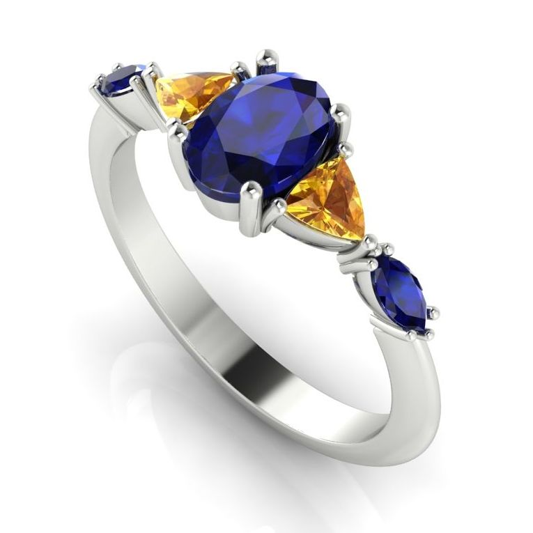 Maisie: Blue & Yellow Sapphire, White Gold
