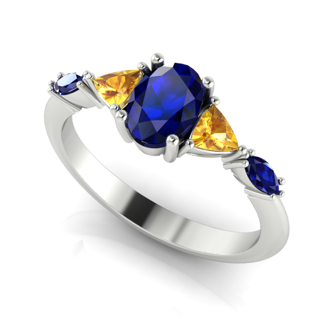 Unusual colour combination, yellow and blue sapphire  engagement ring