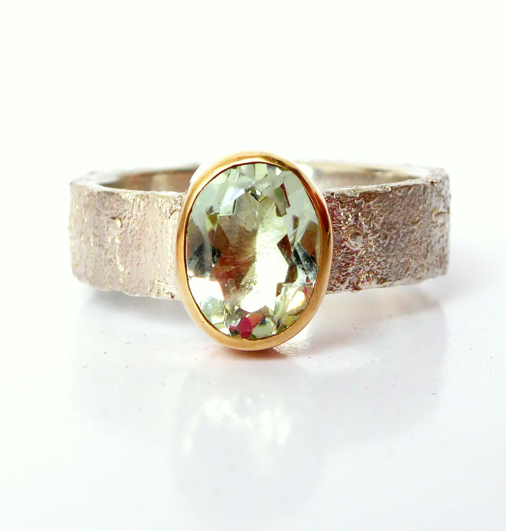 Unusual handmade unique textured silver and gold  gemstone ring