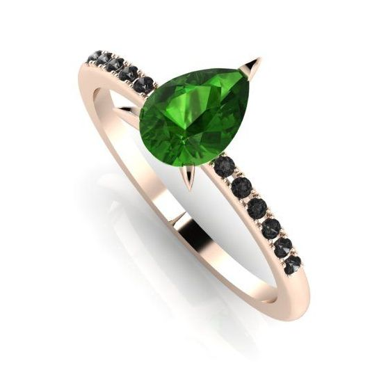 Calista - Green & Black - tourmaline and black diamond rose gold engagement