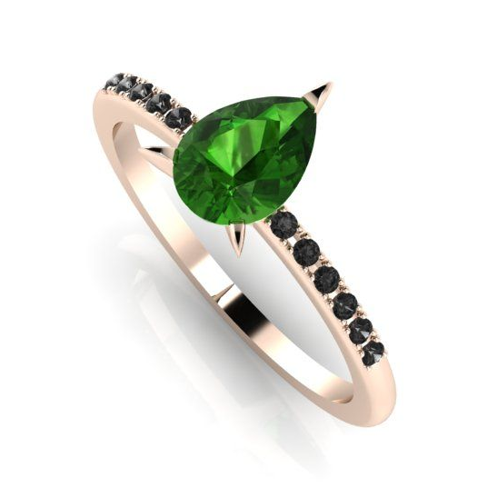 Unusual green rourmaline and black diamond engagement ring
