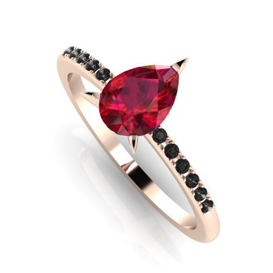 Ruby and black diamond rose gold gothic inspired unusual engagement rings