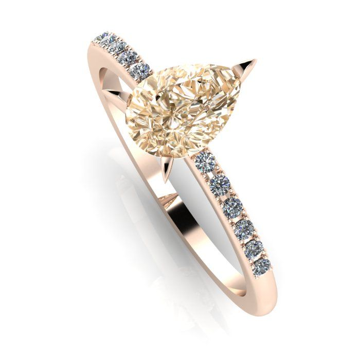 Champagne diamond  and rose gold quirky engagement ring