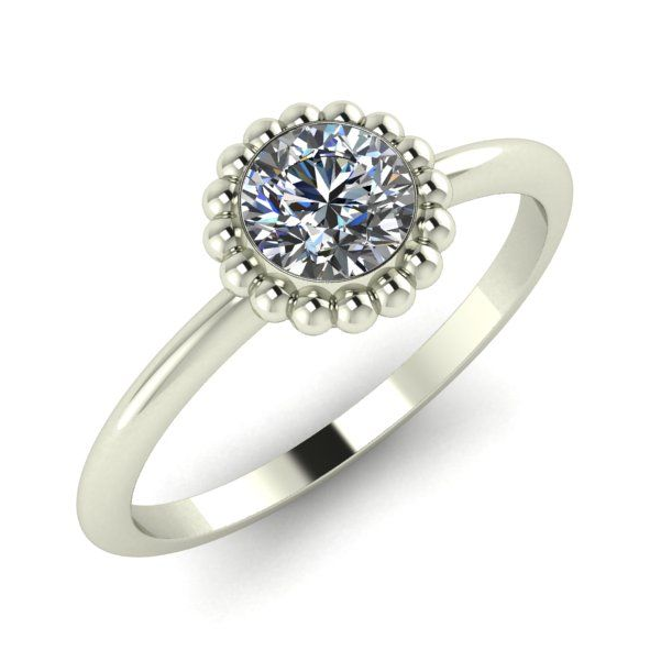 Minimalist modern white gold diamond ring