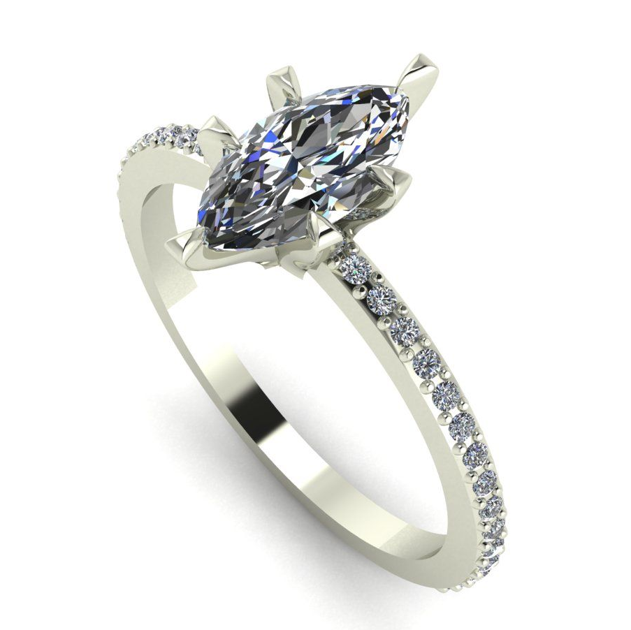 Striking modern and unusualmarquise  diamond and white gold  engagement ring