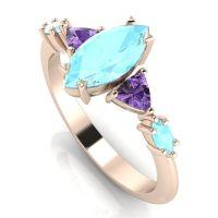 Maisie Marquise: Aquamarine & Violet Sapphires