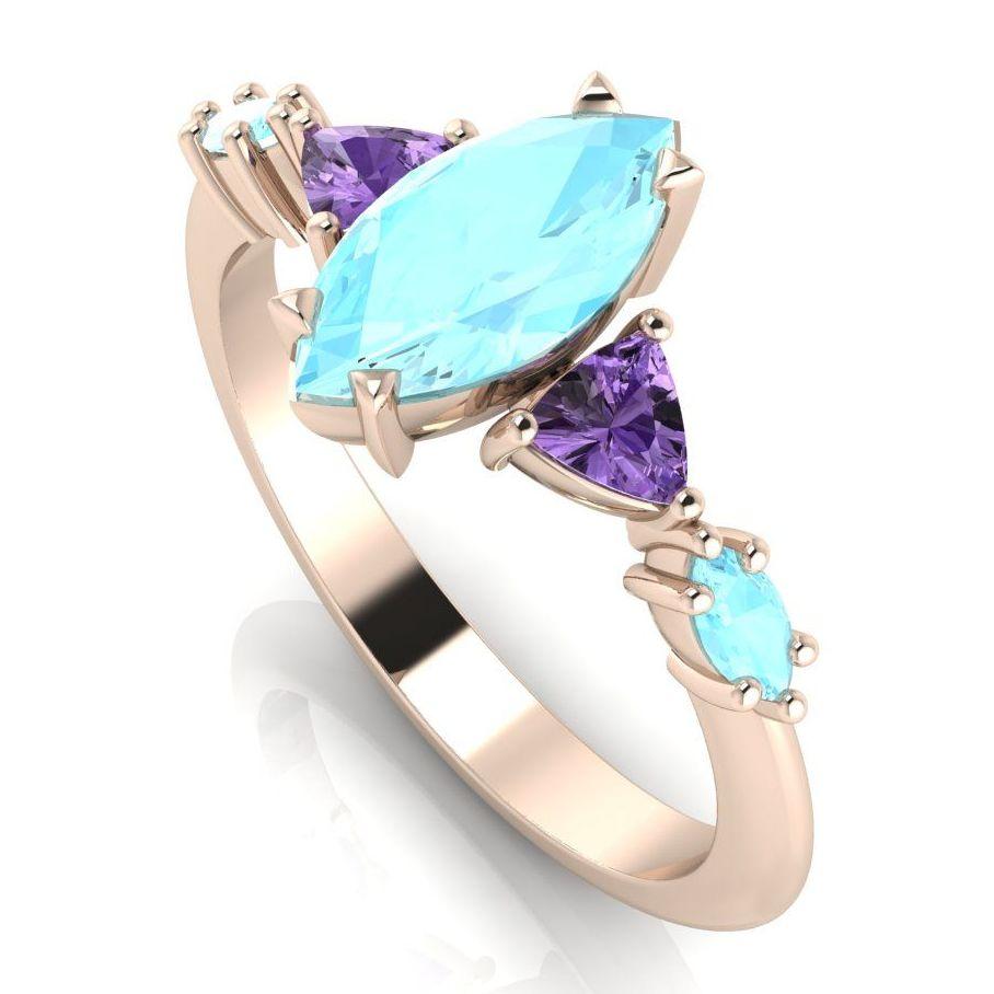 Maisie Marquise: Aquamarine & Violet Sapphires Set In Rose Gold