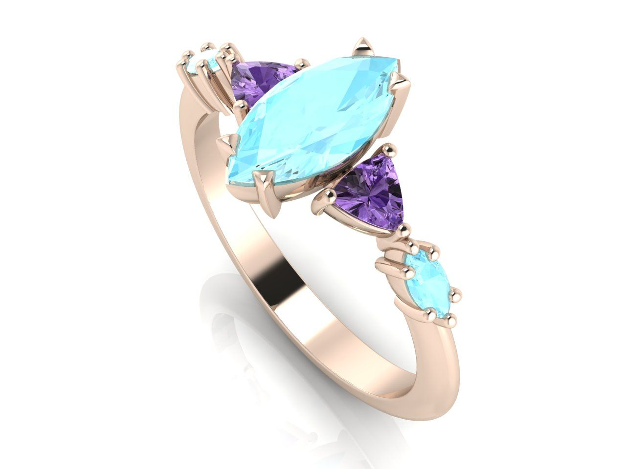 Aquamarine and violet sapphire and rose gold engagement ring