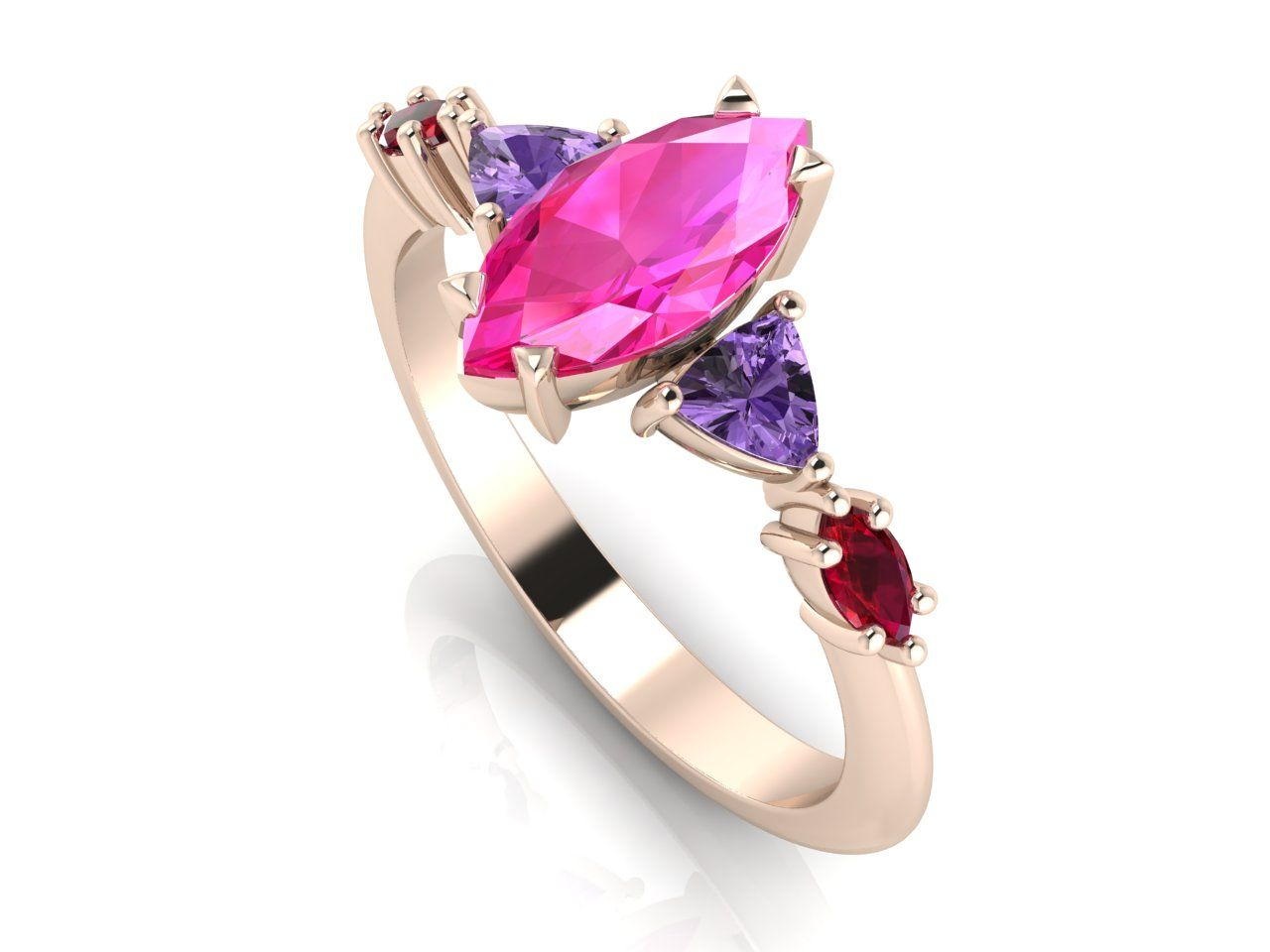 Unusual pink sapphire marquise and rose gold engagement ring