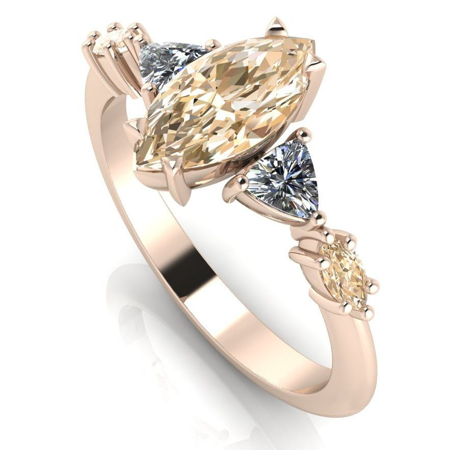 Champagne marquise diamond engagement ring