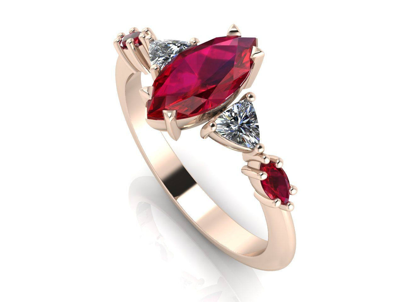 Modern marquise ruby and diamond rose gold engagement ring