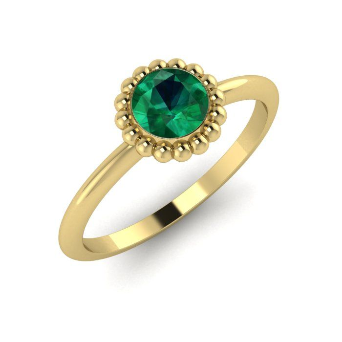 Simple modern emerald solitaire yellow gold engagement ring