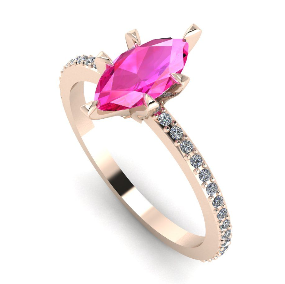 Pink sapphire and rose gold marquise engagement ring