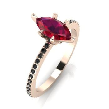 Amoret: Rose Gold, Ruby & Black Diamonds