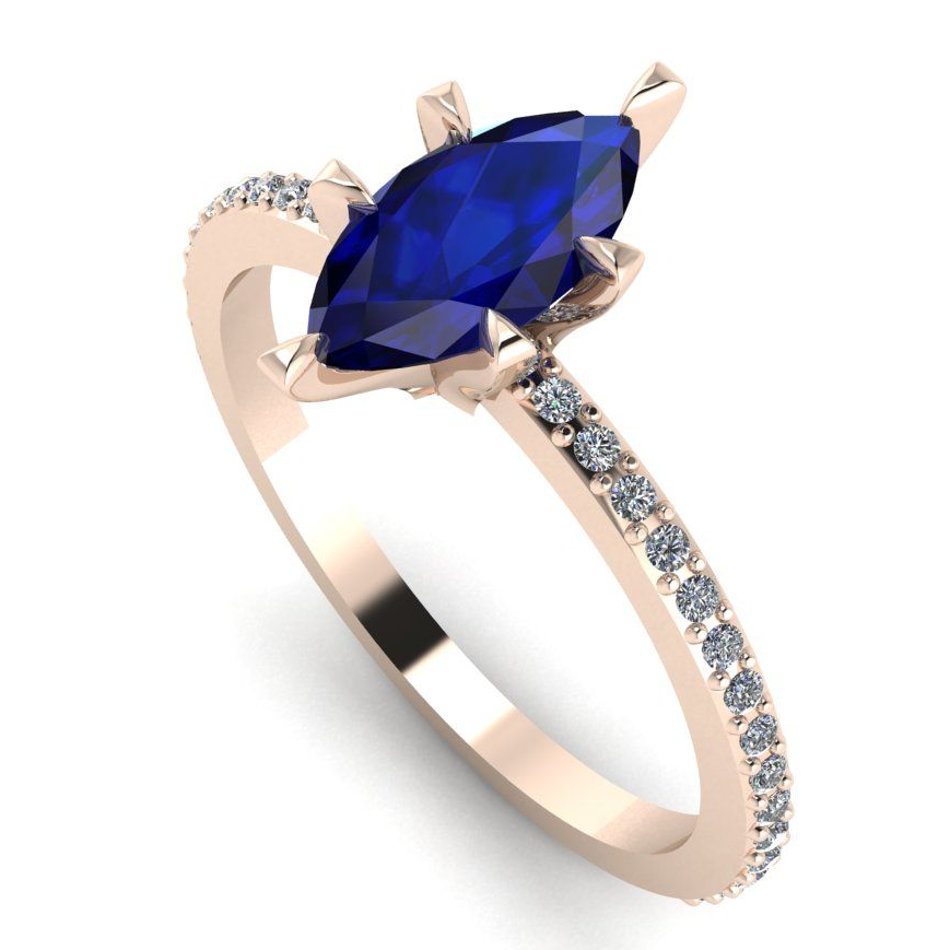 Modern blue saapphire marquise , rose gold  and diamond engagement ring