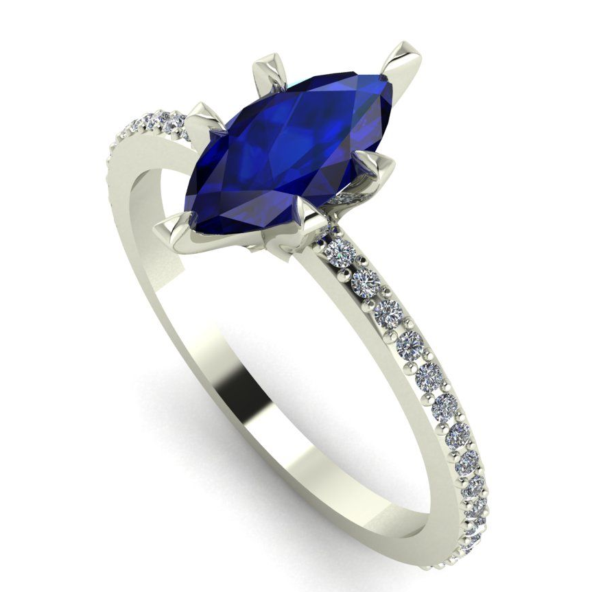 Marquise sapphire and diamonds unique engagement ring