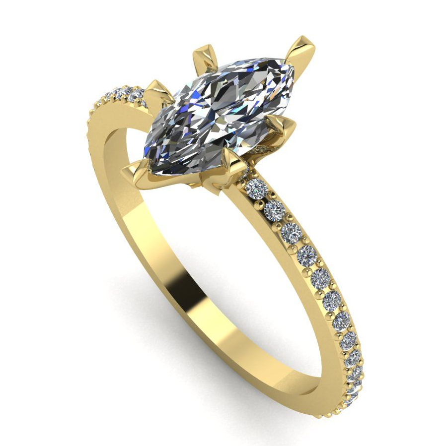 Modern yellow gold and marquise dimond engagement ring