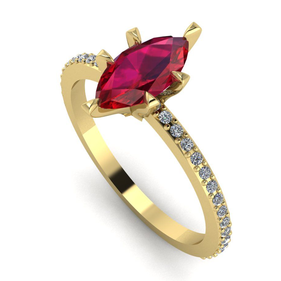 Marquise ruby and white diamonds set in yellow gold engagement ring