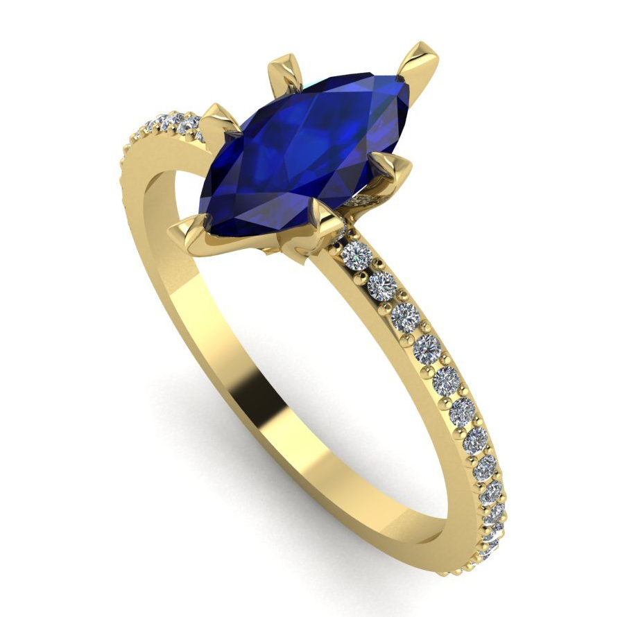 Modern marquise sapphire and diamond engagement ring