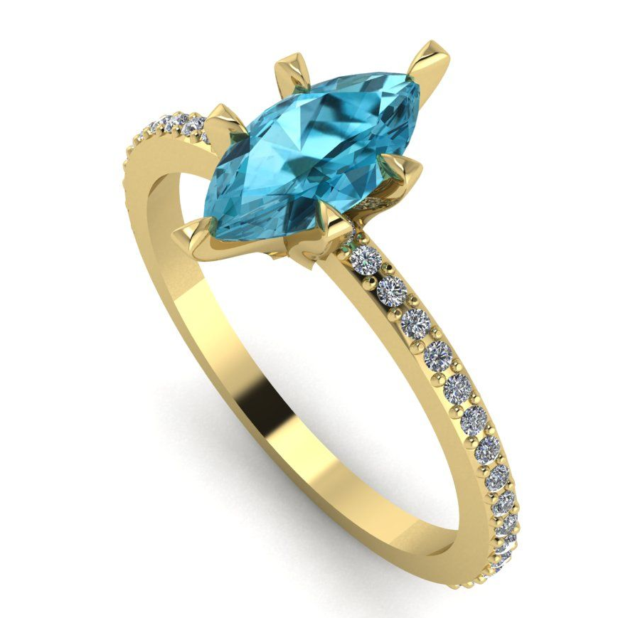 Modern stunning marquise blue zircon and diamond engagement ring