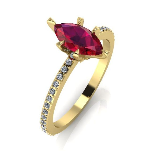 Amoret: Ruby,  Diamonds & Yellow Golg