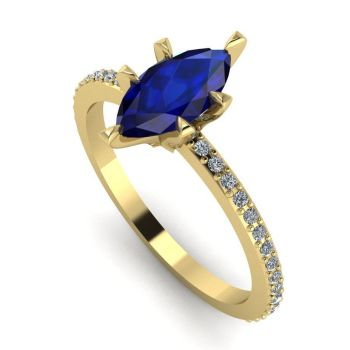 Amoret: Blue Sapphire, Diamonds & Yellow Gold