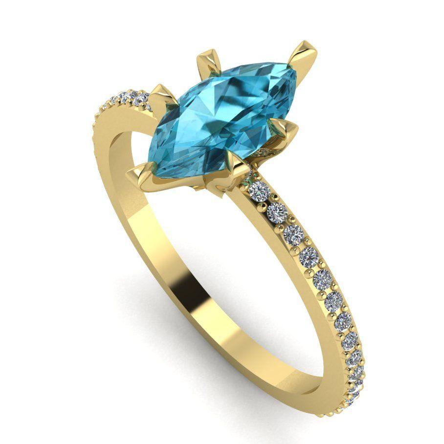 Amoret: Blue Zircon, Diamonds & Yellow Gold