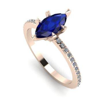 Amoret: Blue Sapphire, Diamond & Rose Gold