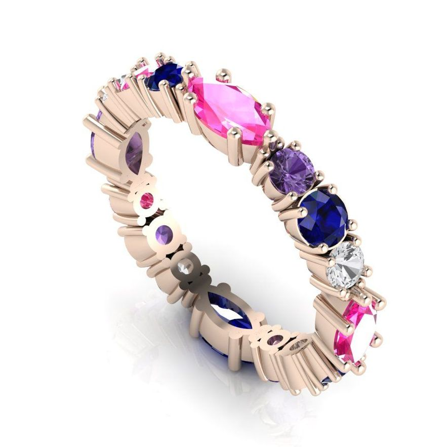 Rose Gold Rainbow Sapphire Eternity Ring