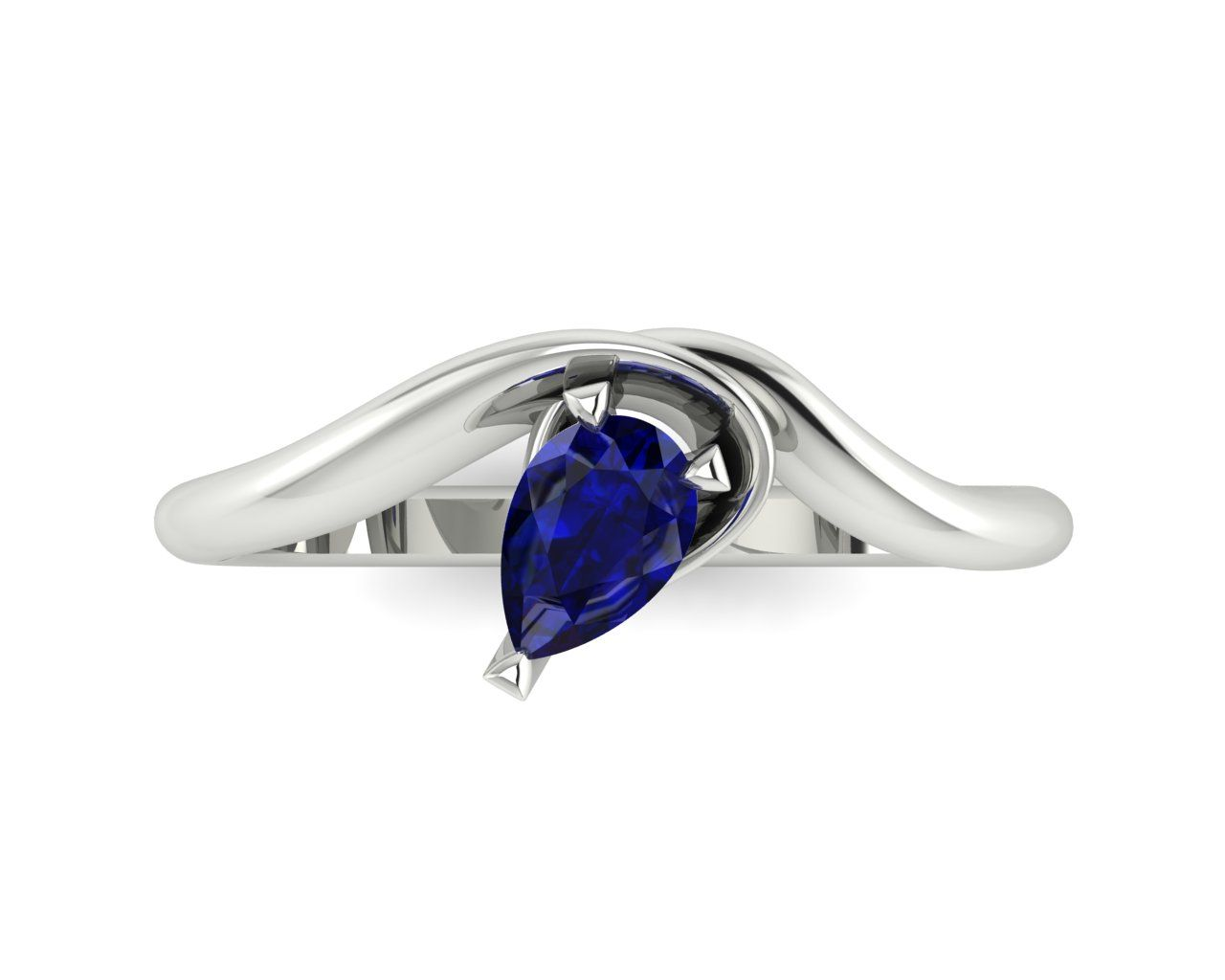 Organic and unusual white gold and sapphire engagement ring