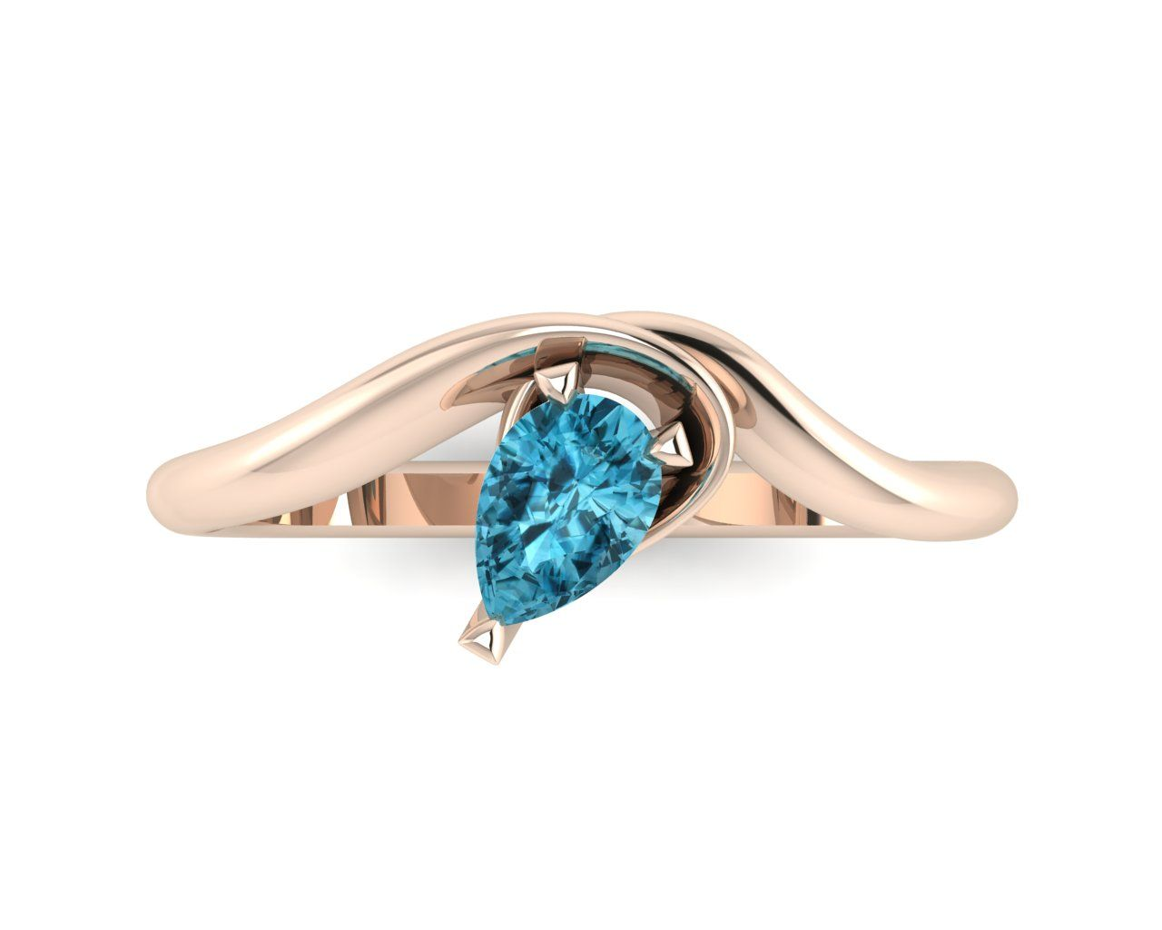 Unusual zircon tear shaped blue zircon solitaire engagement ring