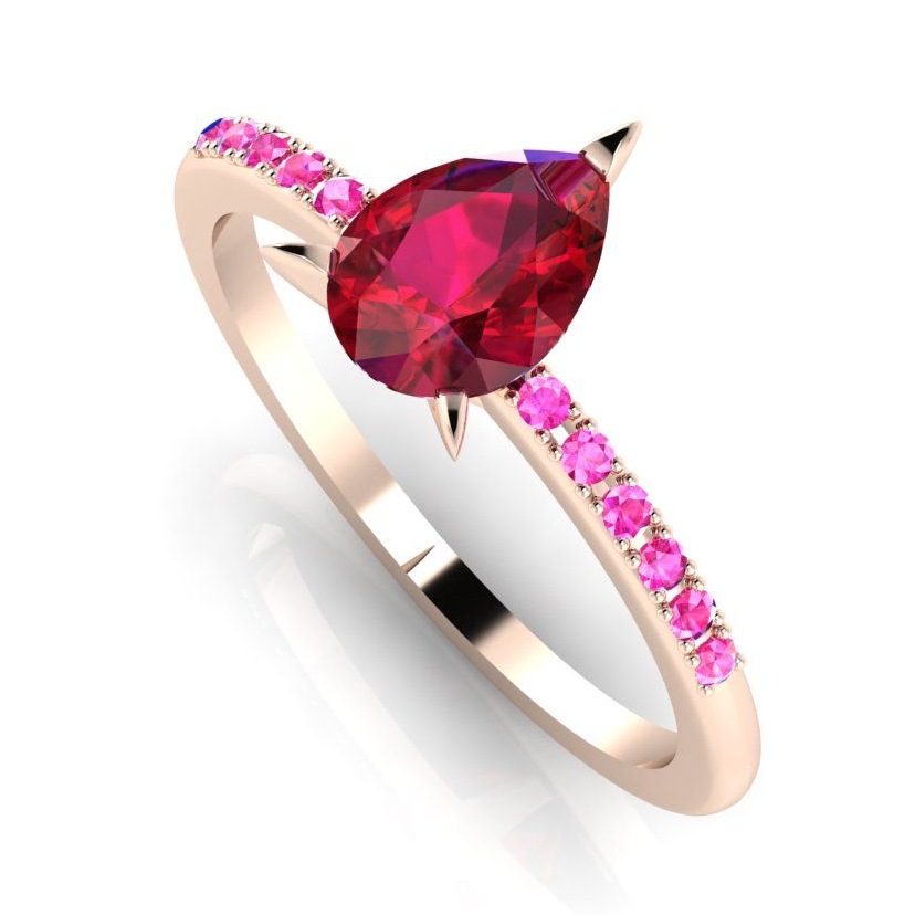 Unusual ruby and pink sapphire rose gold engagement ring