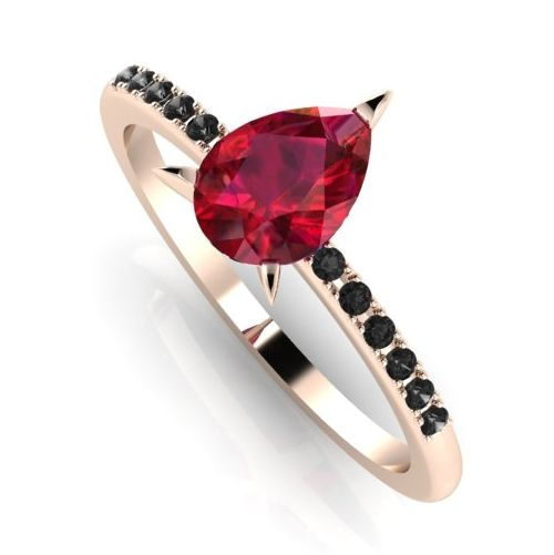 Shop rings, The Calista, Ruby and black diamonds