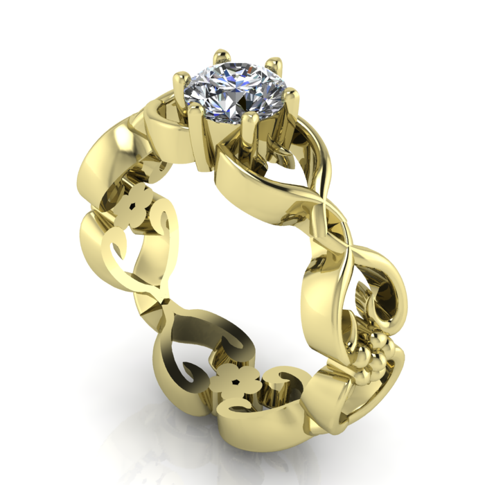 floral yellow gold and diamond engagemnet ring