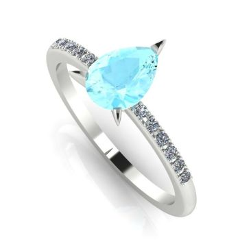 Calista: Aquamarine & Diamond - White Gold